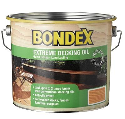 שמן בונדקס מגן דוחה מים ומשמר בעל עמידות כפולה וייבוש מהיר במיוחד לצביעה והגנה של דקים חיצוניים מעץ.